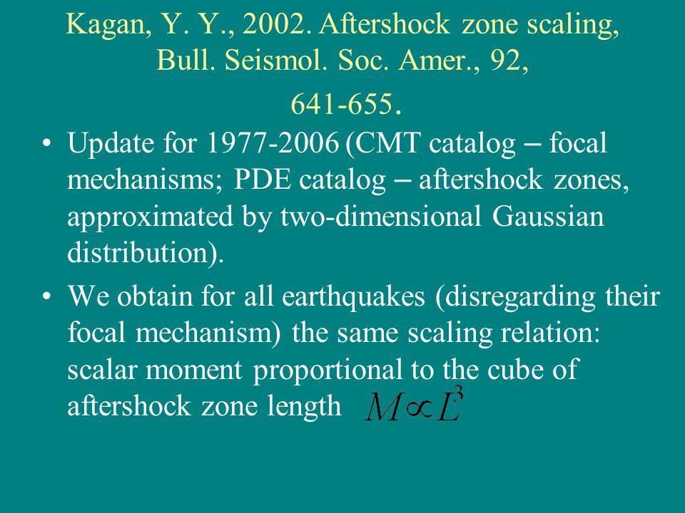 Kagan, Y. Y., 2002. Aftershock zone scaling, Bull.