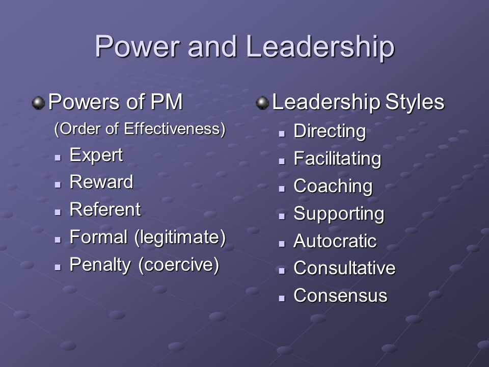 Power and Leadership Powers of PM (Order of Effectiveness) Expert Expert Reward Reward Referent Referent Formal (legitimate) Formal (legitimate) Penalty (coercive) Penalty (coercive) Leadership Styles Directing Directing Facilitating Facilitating Coaching Coaching Supporting Supporting Autocratic Autocratic Consultative Consultative Consensus Consensus