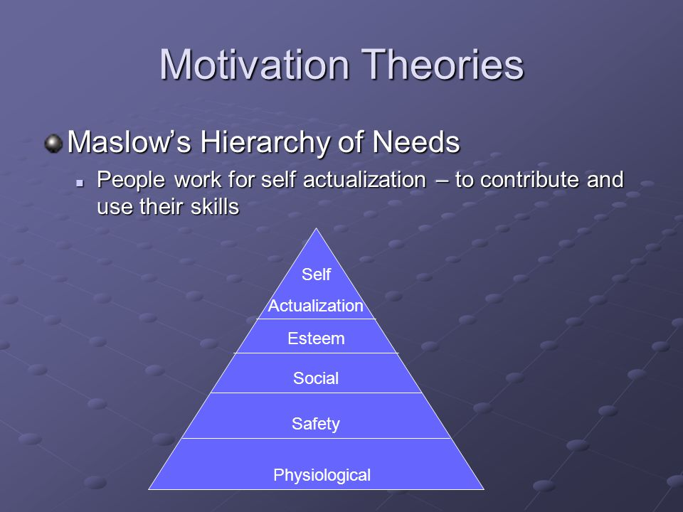 Motivation Theories Maslow's Hierarchy of Needs People work for self actualization – to contribute and use their skills People work for self actualization – to contribute and use their skills Physiological Safety Social Esteem Self Actualization