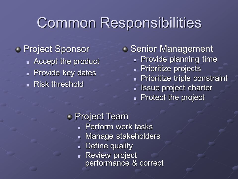 Common Responsibilities Project Sponsor Accept the product Accept the product Provide key dates Provide key dates Risk threshold Risk threshold Senior Management Provide planning time Provide planning time Prioritize projects Prioritize projects Prioritize triple constraint Prioritize triple constraint Issue project charter Issue project charter Protect the project Protect the project Project Team Perform work tasks Perform work tasks Manage stakeholders Manage stakeholders Define quality Define quality Review project performance & correct Review project performance & correct