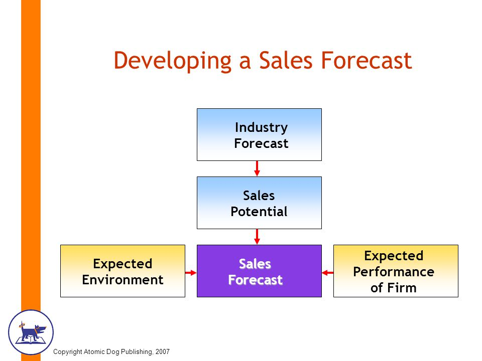 Copyright Atomic Dog Publishing, 2007 Developing a Sales Forecast Industry Forecast Sales Potential Expected Environment Sales Forecast Expected Performance of Firm