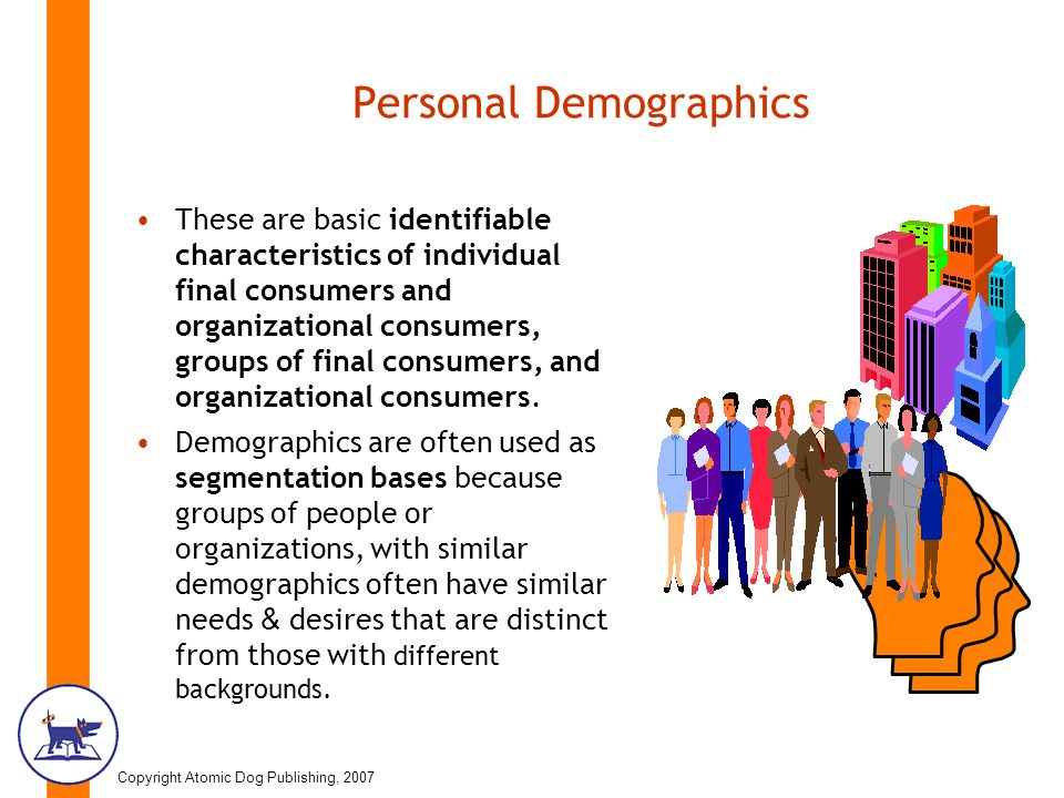 Copyright Atomic Dog Publishing, 2007 Personal Demographics These are basic identifiable characteristics of individual final consumers and organizational consumers, groups of final consumers, and organizational consumers.