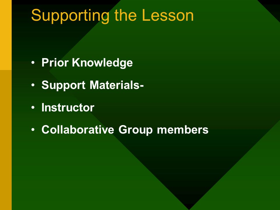 Supporting the Lesson Prior Knowledge Support Materials- Instructor Collaborative Group members
