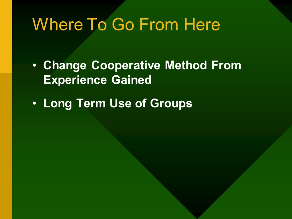 Where To Go From Here Change Cooperative Method From Experience Gained Long Term Use of Groups