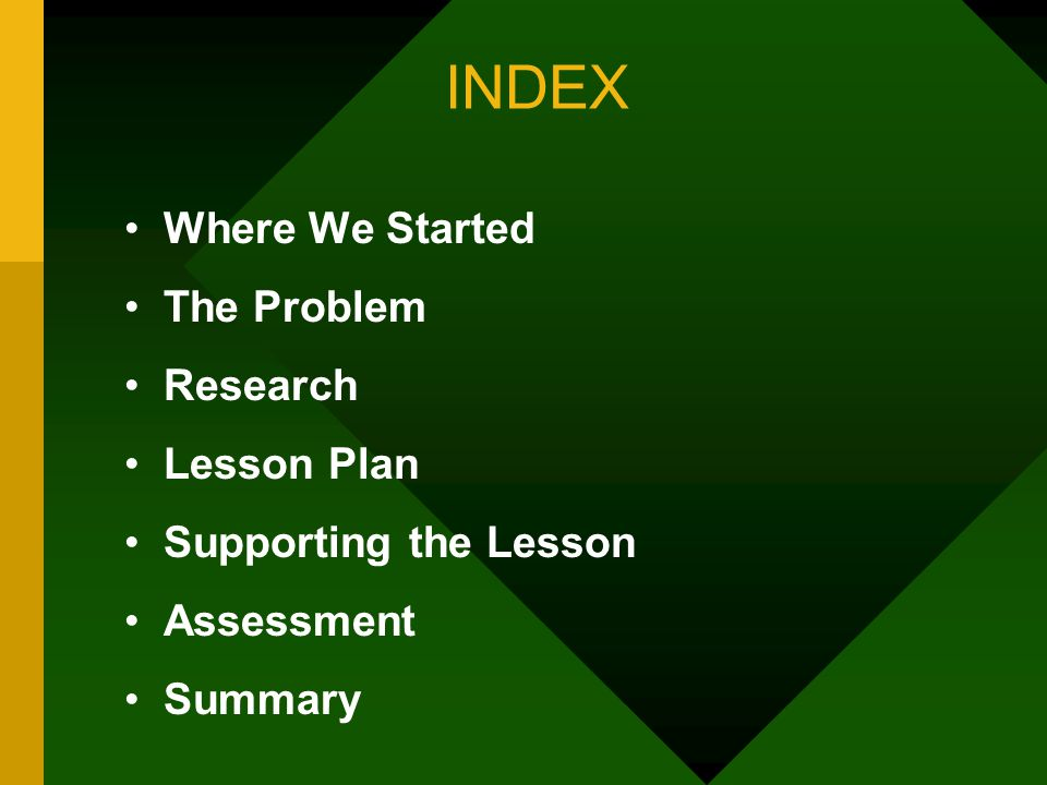INDEX Where We Started The Problem Research Lesson Plan Supporting the Lesson Assessment Summary