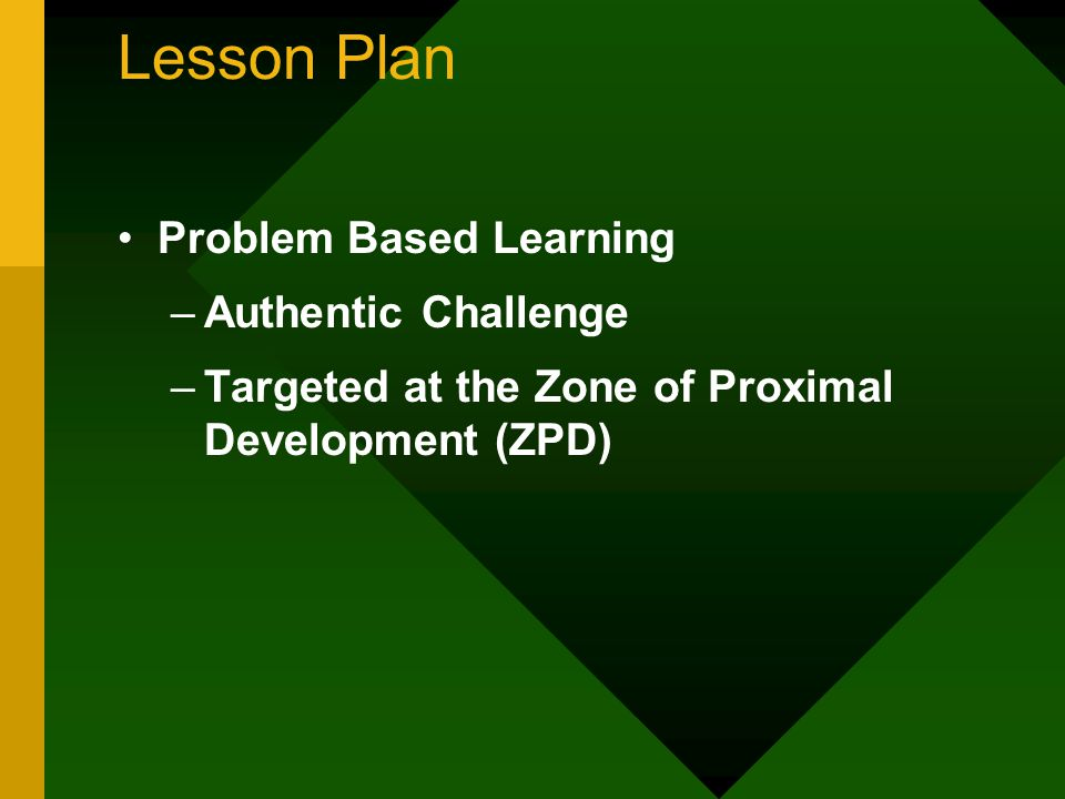 Lesson Plan Problem Based Learning –Authentic Challenge –Targeted at the Zone of Proximal Development (ZPD)