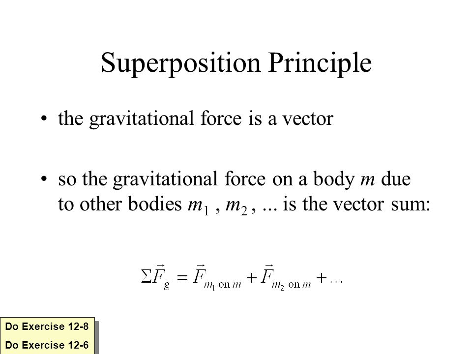 Superposition Principle the gravitational force is a vector so the gravitational force on a body m due to other bodies m 1, m 2,...