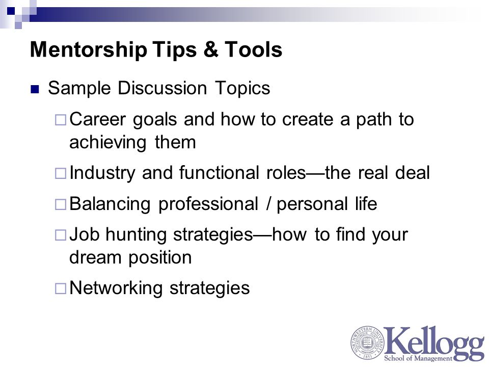 Mentorship Tips & Tools Sample Discussion Topics  Career goals and how to create a path to achieving them  Industry and functional roles—the real deal  Balancing professional / personal life  Job hunting strategies—how to find your dream position  Networking strategies