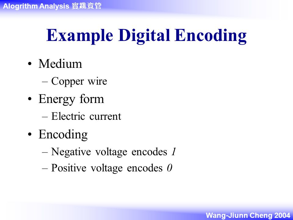 Alogrithm Analysis 實踐資管 Wang-Jiunn Cheng 2004 Example Digital Encoding Medium –Copper wire Energy form –Electric current Encoding –Negative voltage encodes 1 –Positive voltage encodes 0