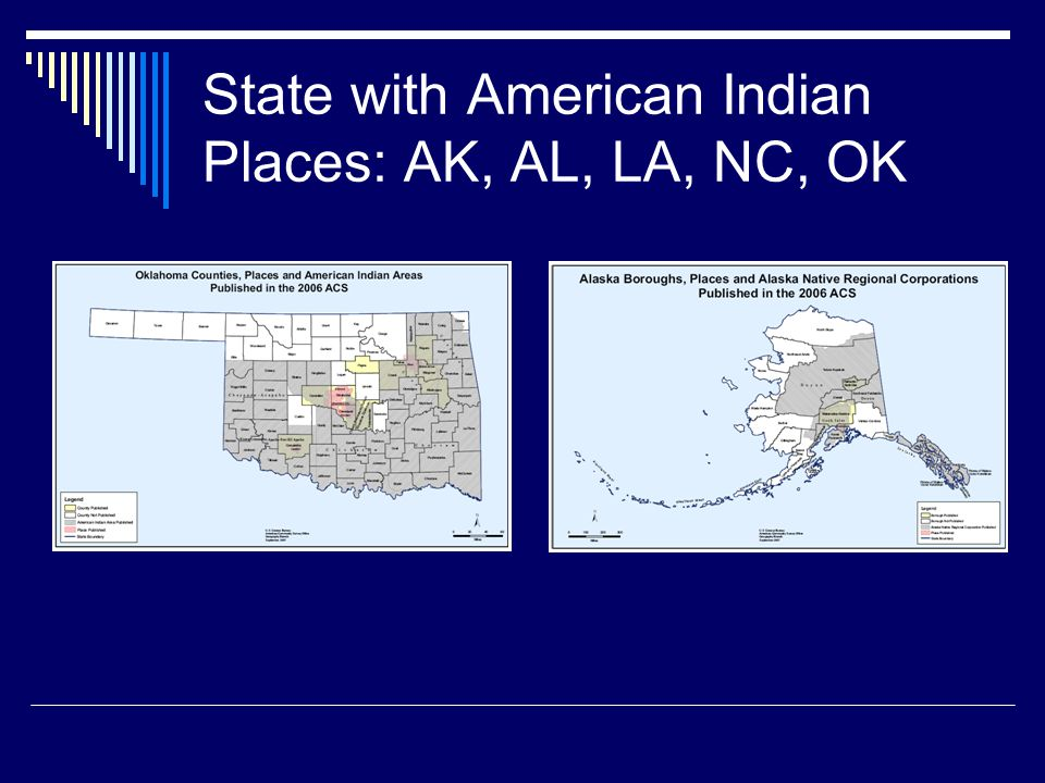 State with American Indian Places: AK, AL, LA, NC, OK
