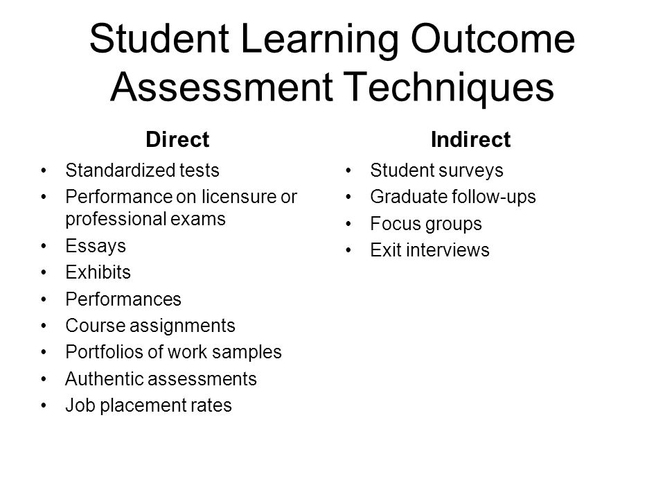Student Learning Outcome Assessment Techniques Standardized tests Performance on licensure or professional exams Essays Exhibits Performances Course assignments Portfolios of work samples Authentic assessments Job placement rates Student surveys Graduate follow-ups Focus groups Exit interviews DirectIndirect