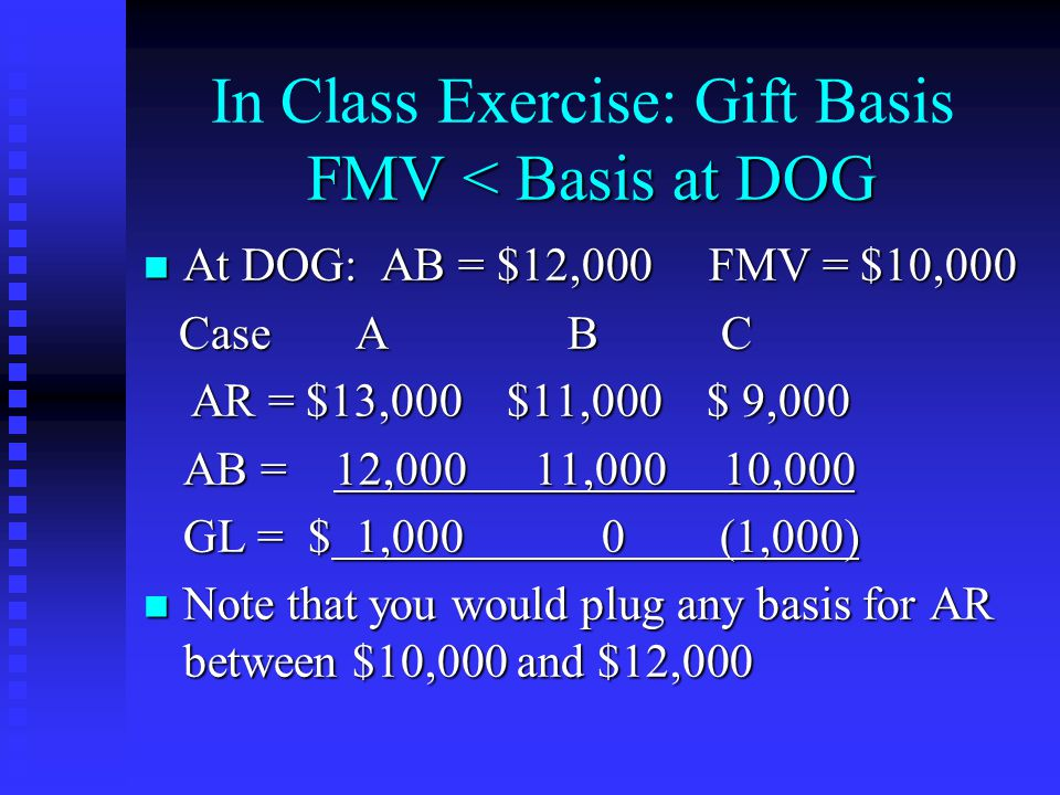 FMV < Basis at DOG In Class Exercise: Gift Basis FMV < Basis at DOG n At DOG: AB = $12,000 FMV = $10,000 CaseAB C CaseAB C AR = $13,000 $11,000 $ 9,000 AR = $13,000 $11,000 $ 9,000 AB = 12,000 11,000 10,000 GL = $ 1,000 0 (1,000) n Note that you would plug any basis for AR between $10,000 and $12,000