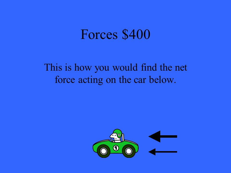 Forces $400 This is how you would find the net force acting on the car below.