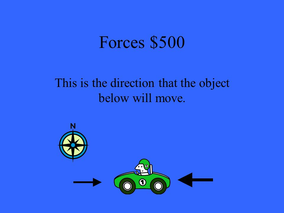 Forces $500 This is the direction that the object below will move.