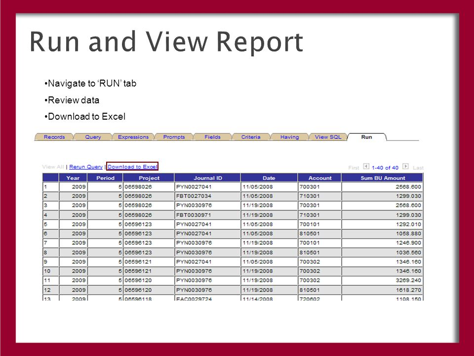 Run and View Report Navigate to 'RUN' tab Review data Download to Excel