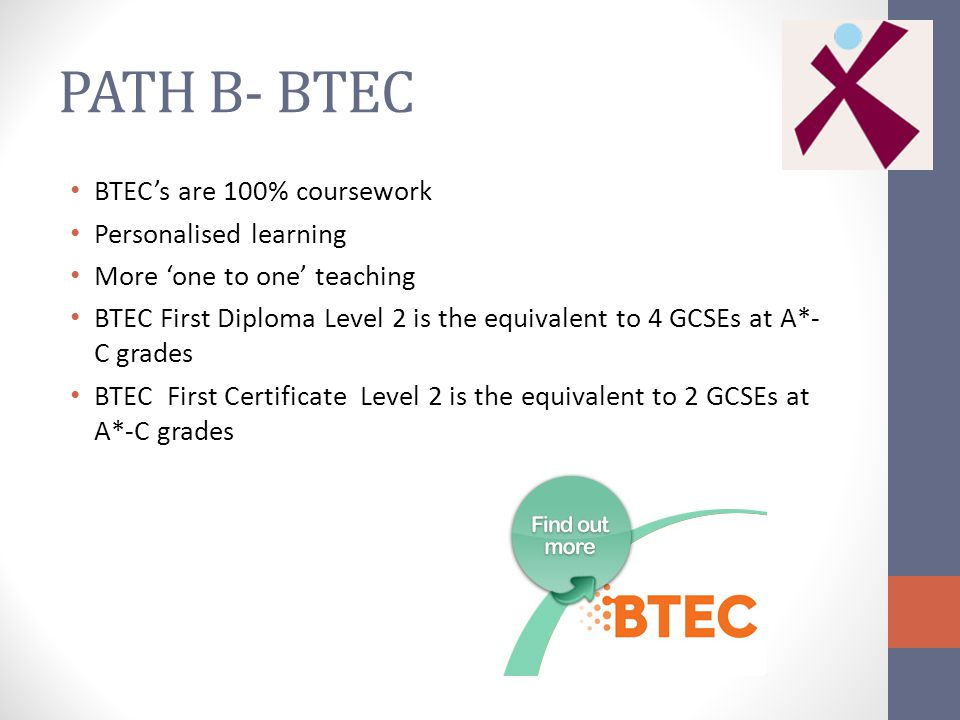 PATH B- BTEC BTEC's are 100% coursework Personalised learning More 'one to one' teaching BTEC First Diploma Level 2 is the equivalent to 4 GCSEs at A*- C grades BTEC First Certificate Level 2 is the equivalent to 2 GCSEs at A*-C grades
