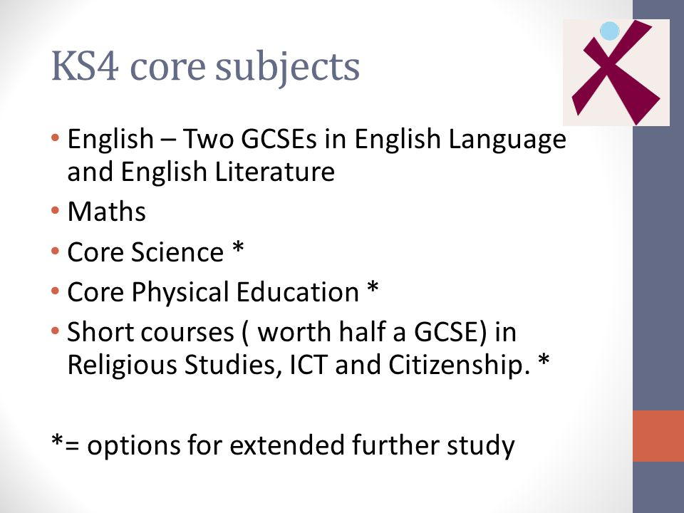 KS4 core subjects English – Two GCSEs in English Language and English Literature Maths Core Science * Core Physical Education * Short courses ( worth half a GCSE) in Religious Studies, ICT and Citizenship.