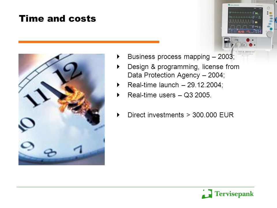 Time and costs Business process mapping – 2003; Design & programming, license from Data Protection Agency – 2004; Real-time launch – ; Real-time users – Q