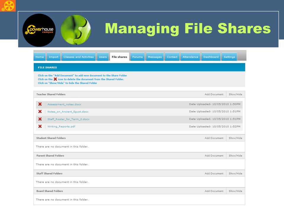 Managing File Shares