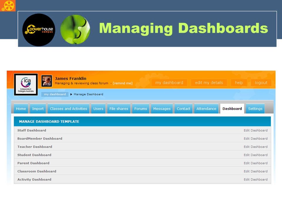 Managing Dashboards