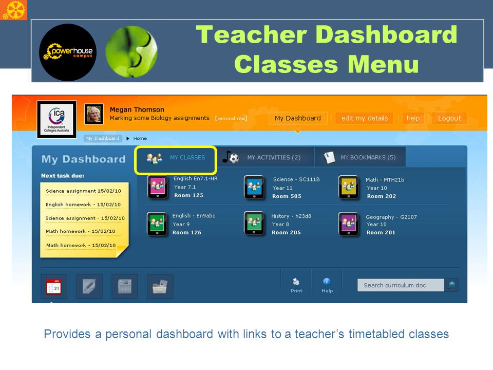 Teacher Dashboard Classes Menu Provides a personal dashboard with links to a teacher's timetabled classes