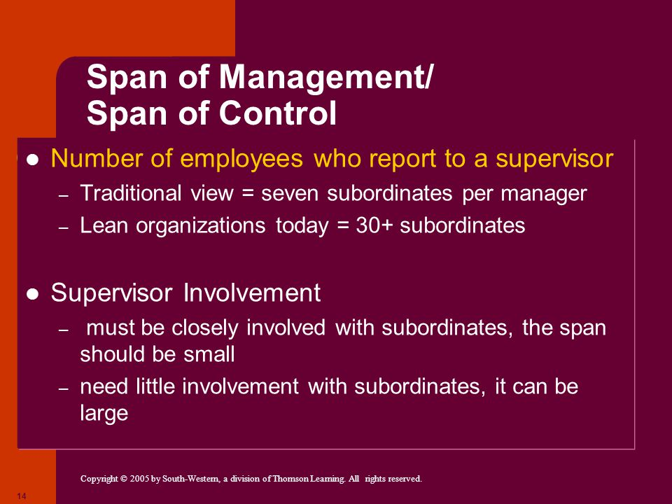 Copyright © 2005 by South-Western, a division of Thomson Learning. All rights reserved. 14 Span of Management/ Span of Control Number of employees who