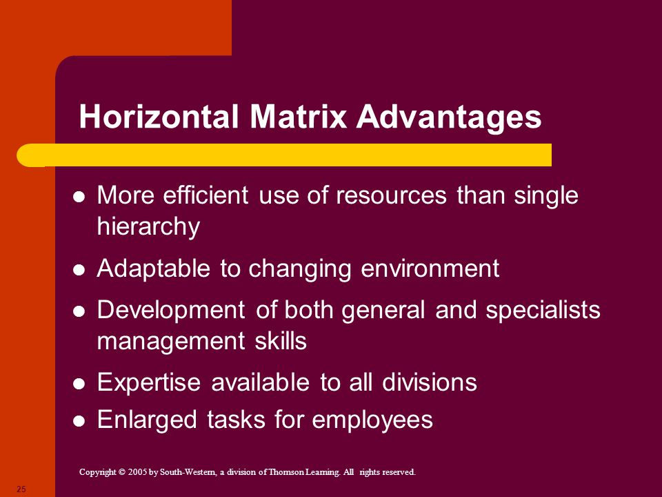Copyright © 2005 by South-Western, a division of Thomson Learning. All rights reserved. 25 Horizontal Matrix Advantages More efficient use of resource