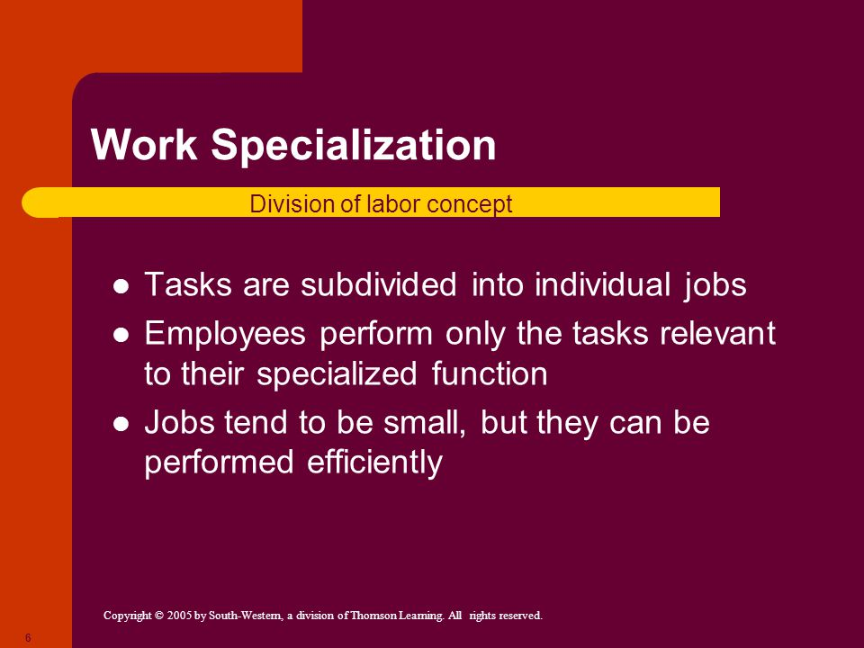 Copyright © 2005 by South-Western, a division of Thomson Learning. All rights reserved. 6 Work Specialization Tasks are subdivided into individual job