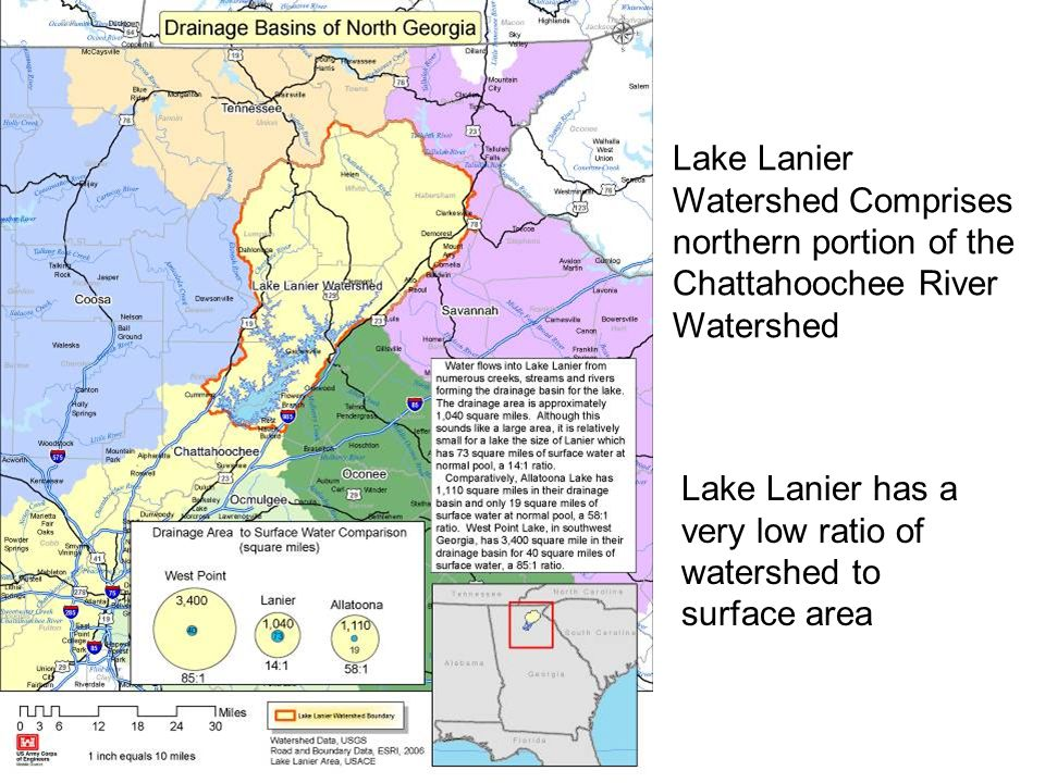 Lake Lanier Watershed Comprises northern portion of the Chattahoochee River Watershed Lake Lanier has a very low ratio of watershed to surface area