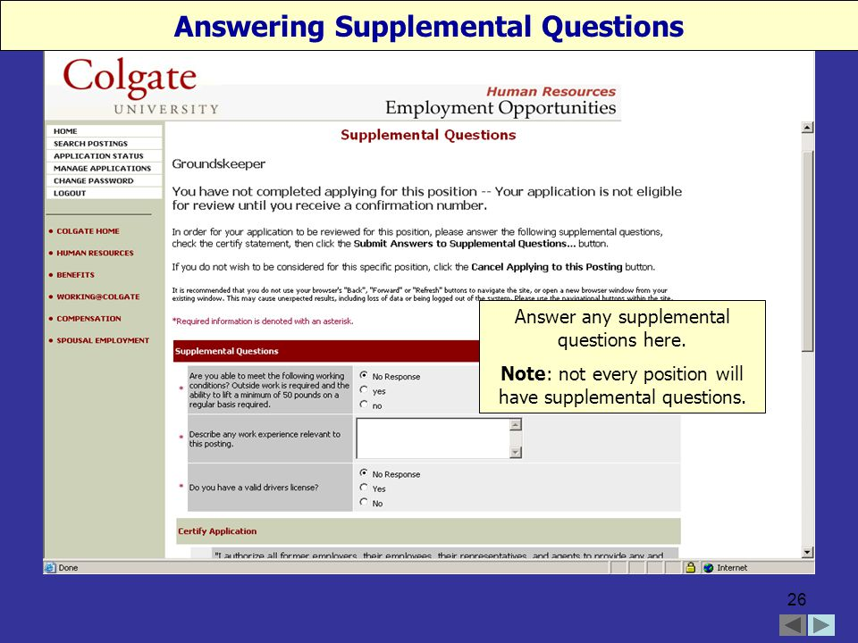 26 Answering Supplemental Questions Answer any supplemental questions here.