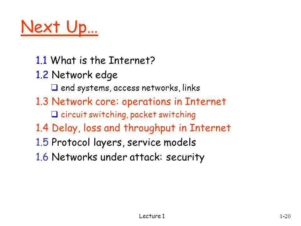 Lecture 1 Next Up… 1.1 What is the Internet.