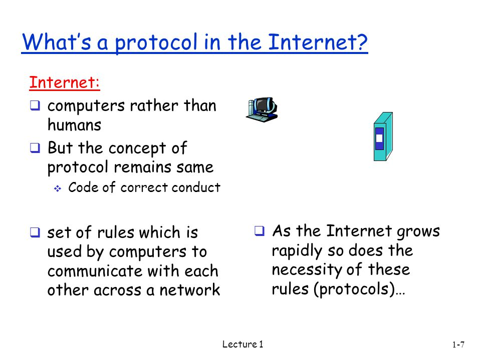 Lecture 1 Internet:  computers rather than humans  But the concept of protocol remains same  Code of correct conduct  set of rules which is used by computers to communicate with each other across a network What's a protocol in the Internet.