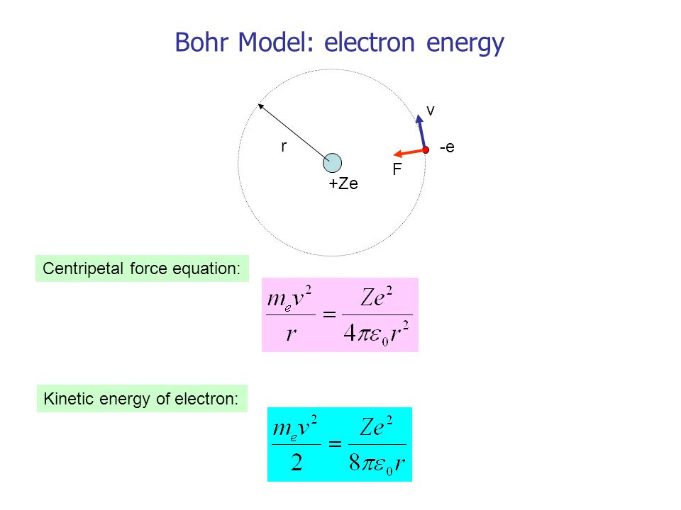 r v F +Ze -e Bohr Model: electron energy Centripetal force equation: Kinetic energy of electron: