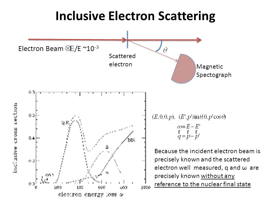 Inclusive Electron Scattering Electron Beam  Δ  /E ~10 -3 Magnetic Spectograph Scattered electron Because the incident electron beam is precisely known and the scattered electron well measured, q and ω are precisely known without any reference to the nuclear final state