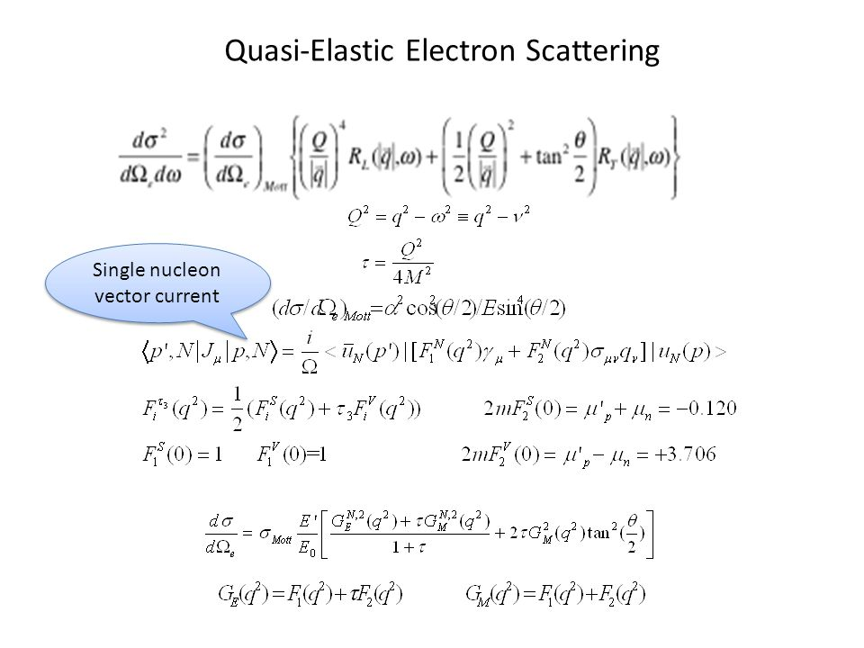 Quasi-Elastic Electron Scattering Single nucleon vector current