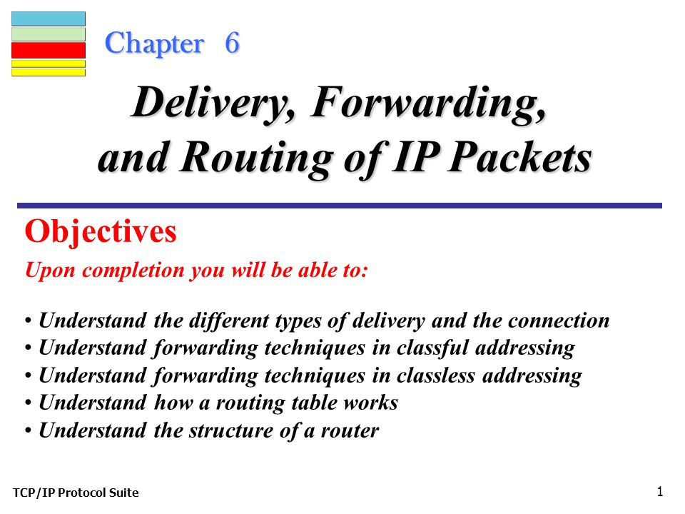 TCP/IP Protocol Suite 1 Chapter 6 Upon completion you will be able to: Delivery, Forwarding, and Routing of IP Packets Understand the different types of delivery and the connection Understand forwarding techniques in classful addressing Understand forwarding techniques in classless addressing Understand how a routing table works Understand the structure of a router Objectives