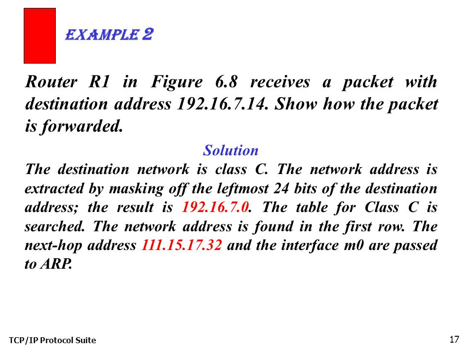 TCP/IP Protocol Suite 17 Router R1 in Figure 6.8 receives a packet with destination address