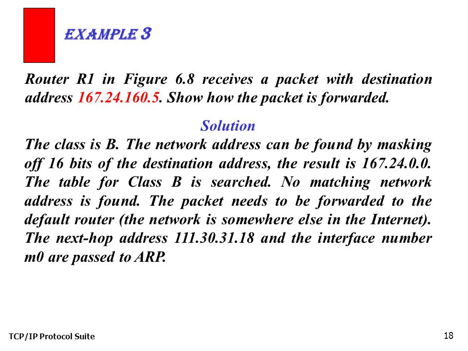 TCP/IP Protocol Suite 18 Router R1 in Figure 6.8 receives a packet with destination address