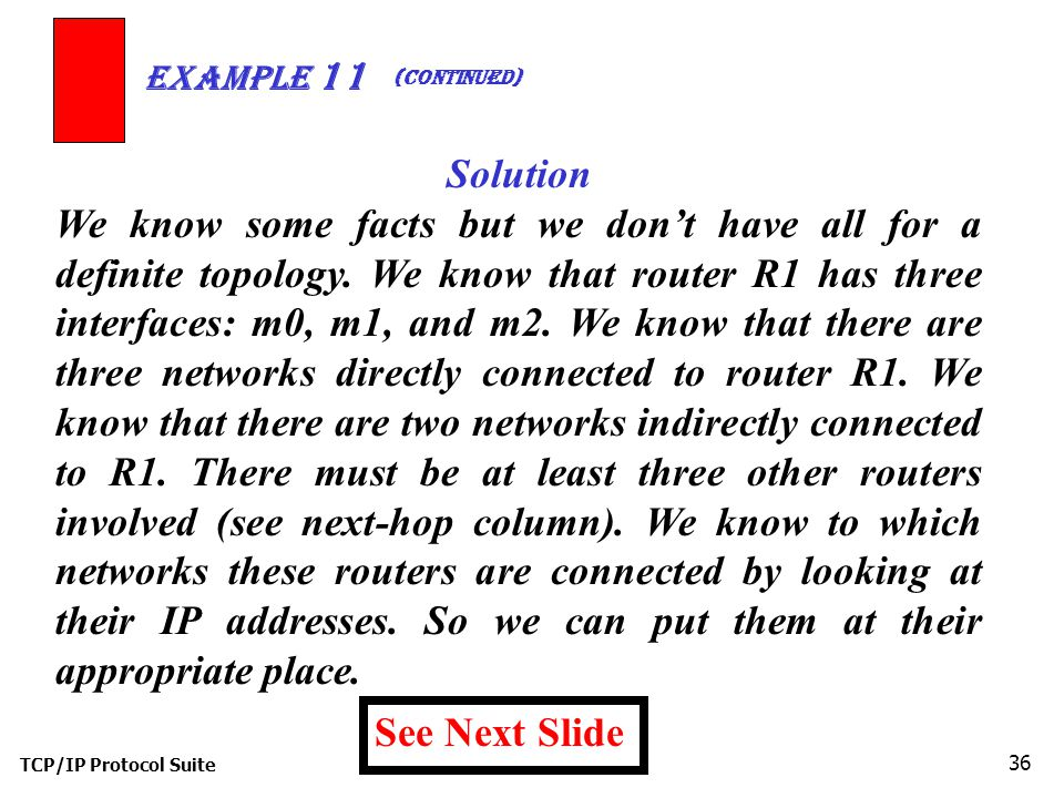 TCP/IP Protocol Suite 36 Example 11 Solution We know some facts but we don't have all for a definite topology.