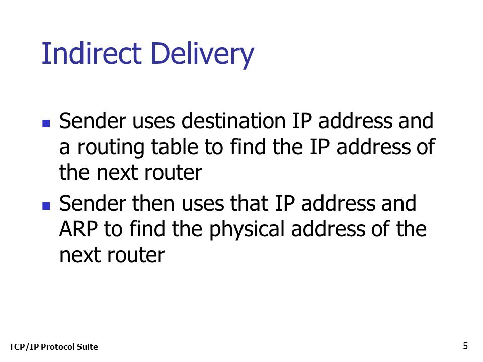 TCP/IP Protocol Suite 5 Indirect Delivery Sender uses destination IP address and a routing table to find the IP address of the next router Sender then uses that IP address and ARP to find the physical address of the next router