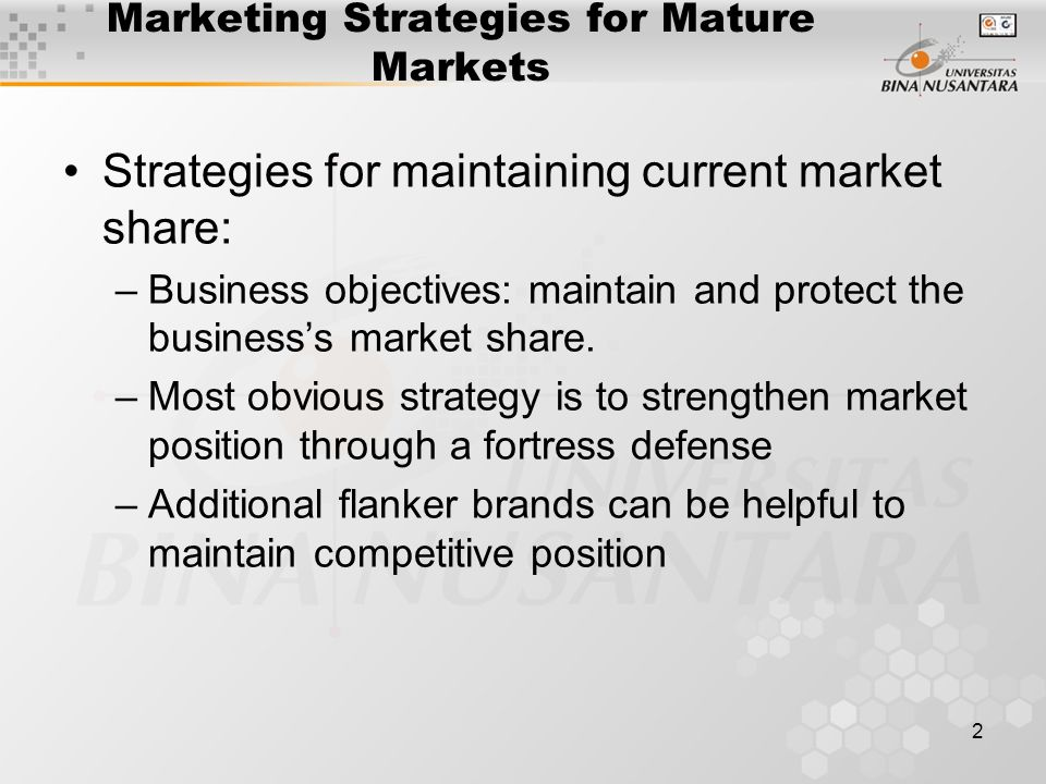 Mature market strategies