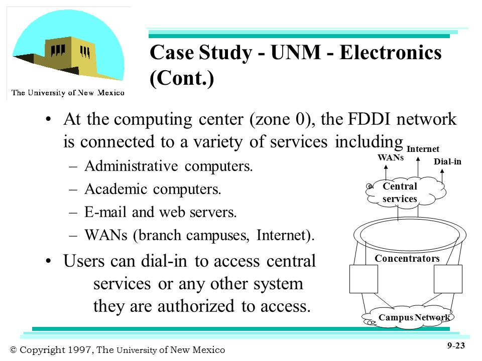 © Copyright 1997, The University of New Mexico 9-23 Case Study - UNM - Electronics (Cont.) At the computing center (zone 0), the FDDI network is connected to a variety of services including –Administrative computers.
