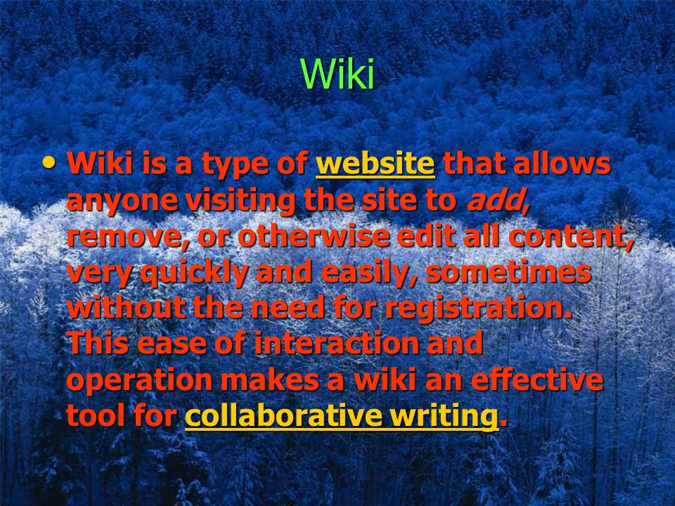 Wiki Wiki is a type of website that allows anyone visiting the site to add, remove, or otherwise edit all content, very quickly and easily, sometimes without the need for registration.