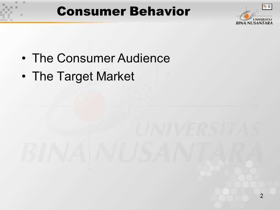 2 Consumer Behavior The Consumer Audience The Target Market