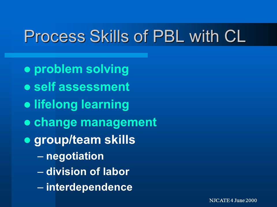 Next Previo NJCATE 4 June 2000 Process Skills of PBL with CL problem solving self assessment lifelong learning change management
