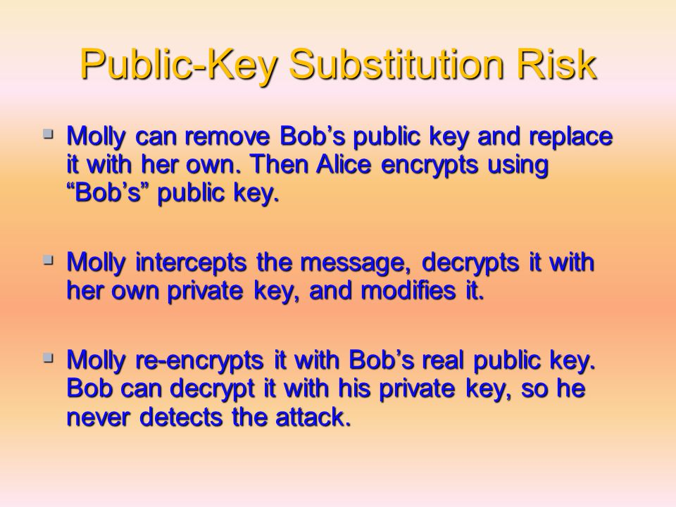 Public-Key Substitution Risk  Molly can remove Bob's public key and replace it with her own.