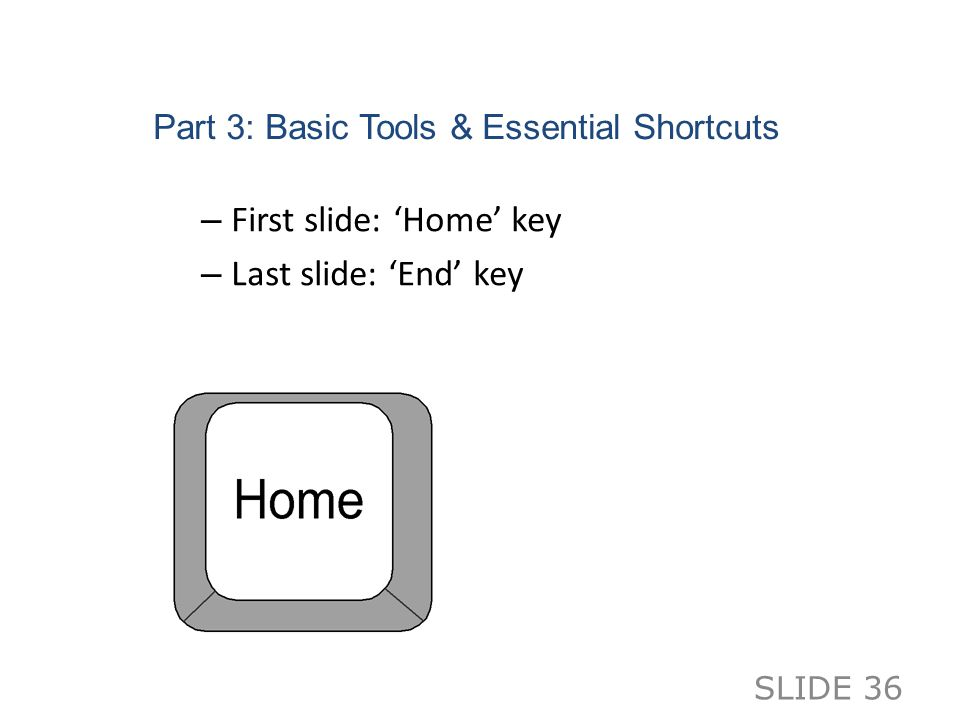 Part 3: Basic Tools & Essential Shortcuts – First slide: 'Home' key – Last slide: 'End' key SLIDE 36