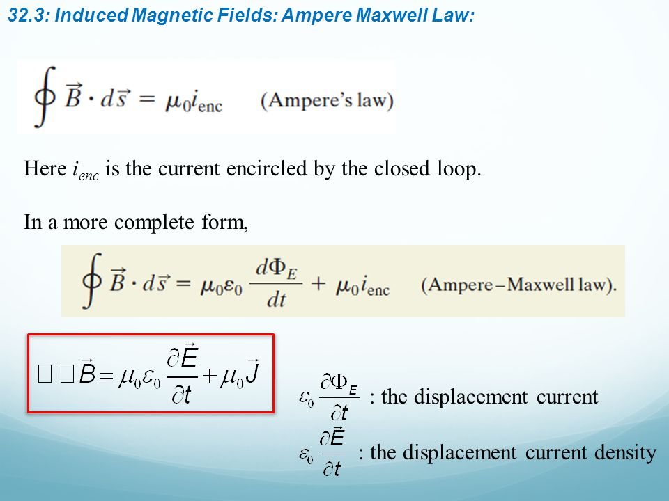 32.3: Induced Magnetic Fields: Ampere Maxwell Law: Here i enc is the current encircled by the closed loop.