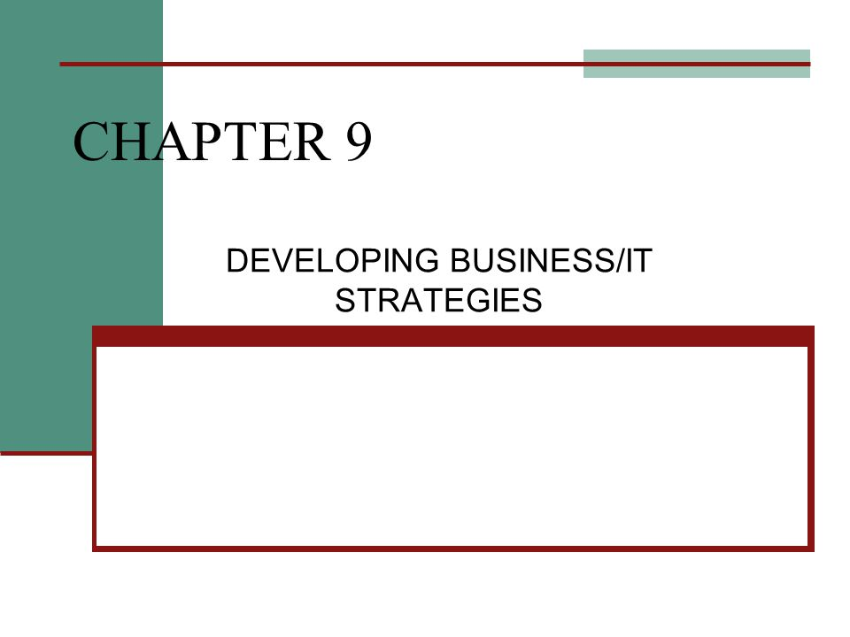 CHAPTER 9 DEVELOPING BUSINESS/IT STRATEGIES