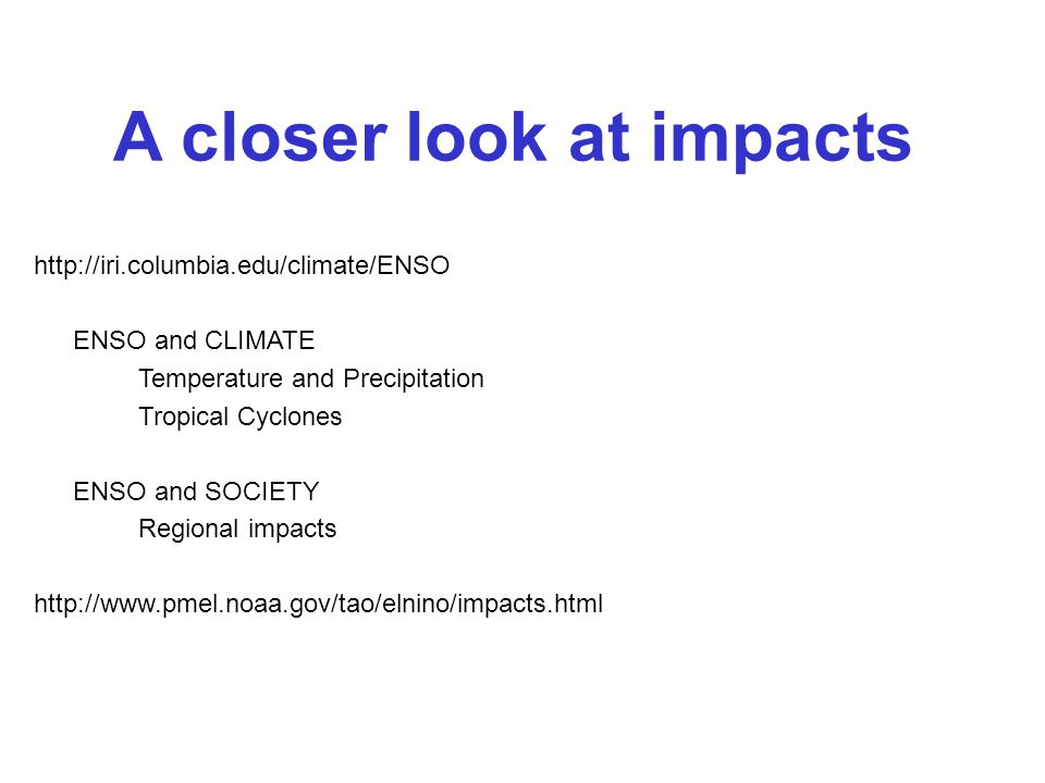 A closer look at impacts   ENSO and CLIMATE Temperature and Precipitation Tropical Cyclones ENSO and SOCIETY Regional impacts